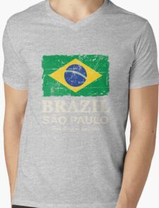 Brazil Flag - Vintage Look Mens V-Neck T-Shirt