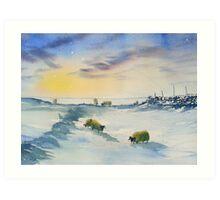 Sheep and Snow on the Moors Art Print