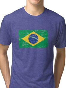 Brazil Flag - Vintage Look Tri-blend T-Shirt