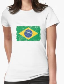 Brazil Flag - Vintage Look Womens Fitted T-Shirt
