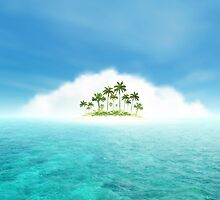 Ocean And Tropical Island With Palms by Olga Altunina