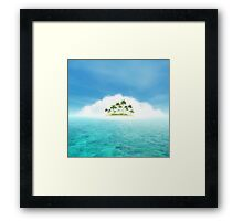 Ocean And Tropical Island With Palms Framed Print