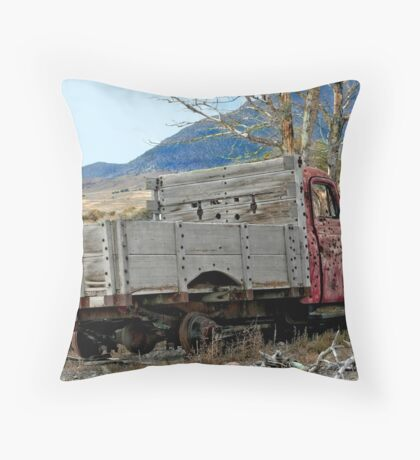 Red Truck With Wooden Bed Throw Pillow