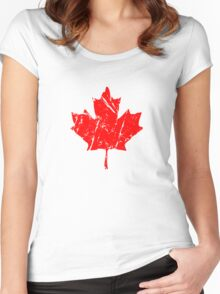 Maple Leaf - Canadian Flag - Vintage Look Women's Fitted Scoop T-Shirt