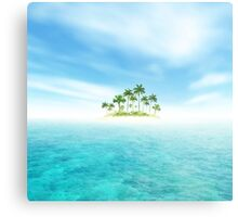 Ocean And Tropical Island With Palms Metal Print