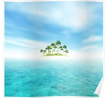 Ocean And Tropical Island With Palms Poster