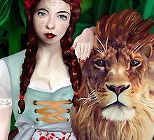 Wizard of Oz- Strength Tarot Card by hezzabeth