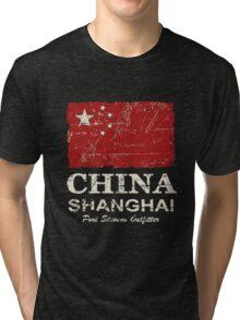 China Flag - Vintage Look Tri-blend T-Shirt