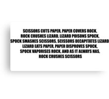 Rock, Paper, Scissors, Lizard, Spock Canvas Print