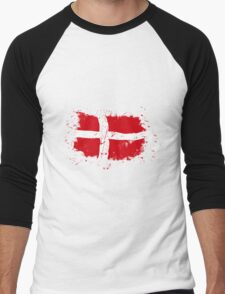 Denmark Flag - Vintage Look Men's Baseball ¾ T-Shirt