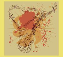 Music Poster with Guitar 3 Kids Tee