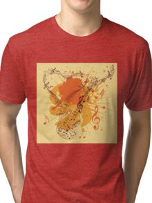 Music Poster with Guitar 3 Tri-blend T-Shirt