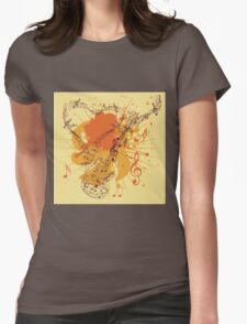 Music Poster with Guitar 3 Womens Fitted T-Shirt