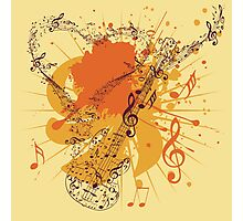 Music Poster with Guitar 3 Photographic Print