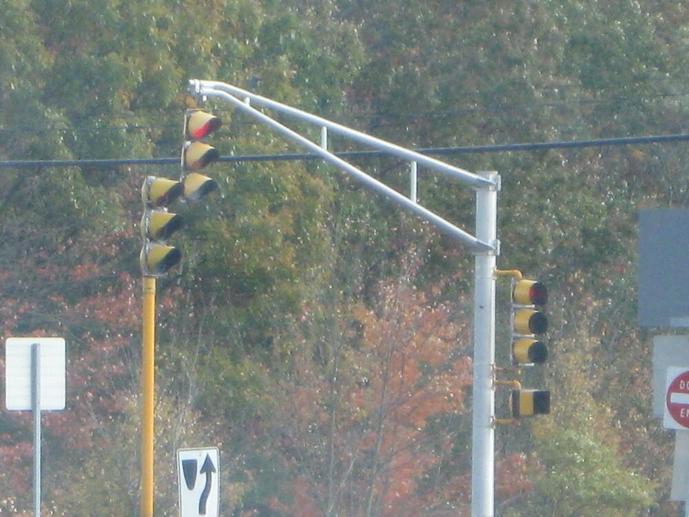 Triple Traffic Lights at Mansfield with pedestrian crosswalk light Part 2 by Eric Sanford