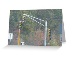 Triple Traffic Lights at Mansfield with pedestrian crosswalk light Part 2 Greeting Card