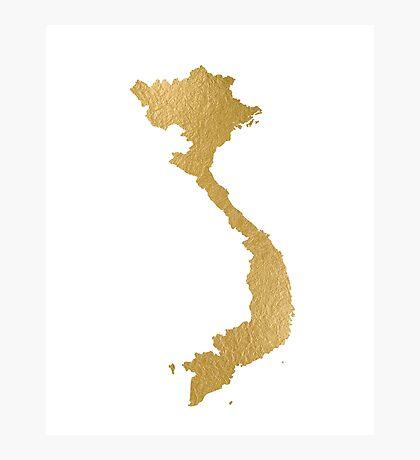 Golden Vietnam map Photographic Print