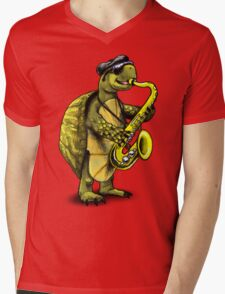Saxophone Playing Turtle Mens V-Neck T-Shirt