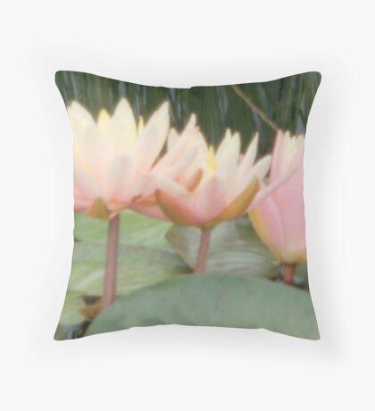 peach water lilies Throw Pillow