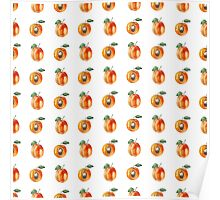 Seamless pattern with watercolor apricots Poster