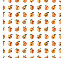 Seamless pattern with watercolor apricots Photographic Print