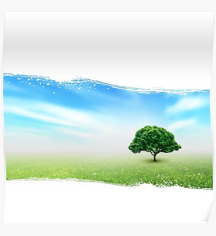 Summer, Field, Sky, Tree, Grass, Flowers Poster