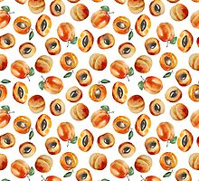 Seamless pattern with watercolor apricot by olyaanikeeva