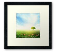 Summer, Field, Sky, Tree, Grass, Poppy Framed Print