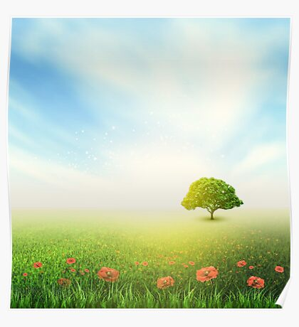 Summer, Field, Sky, Tree, Grass, Poppy Poster
