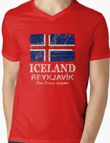 Iceland Flag - Vintage Look Mens V-Neck T-Shirt