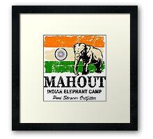 India Elephant Flag - Vintage Look Framed Print