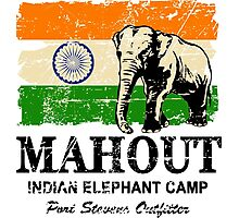 India Elephant Flag - Vintage Look Photographic Print