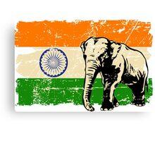 India Elephant Flag - Vintage Look Canvas Print