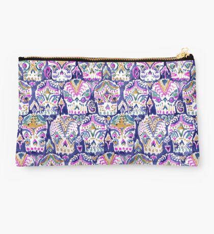 Carpe Diem Purple Watercolor Sugar Skulls Studio Pouch