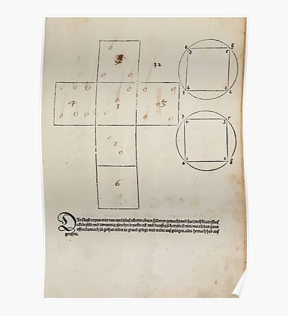 Measurement With Compass Line Leveling Albrecht Dürer or Durer 1525 0145 Repeating and Folding Shapes Poster