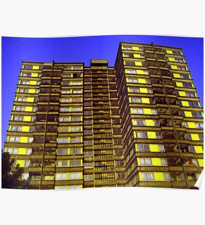 Broomhall flats , Sheffield, Urban pixels Poster