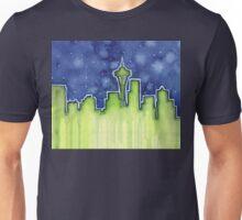Seattle Night Skyline Watercolor Unisex T-Shirt
