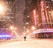 City Snow at Night - New York City by Vivienne Gucwa