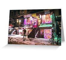 East Village - Colorful Lights in the Snow - New York City Greeting Card