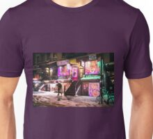 East Village - Colorful Lights in the Snow - New York City Unisex T-Shirt