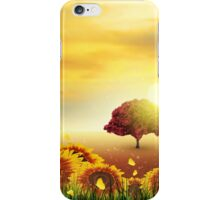Summer, Field, Tree, Sky, Sun, Sunset, Grass, Sunflowers, Butterflies iPhone Case/Skin