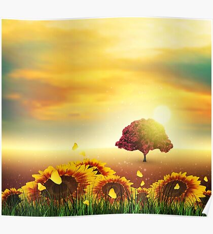 Summer, Field, Tree, Sky, Sun, Sunset, Grass, Sunflowers, Butterflies Poster