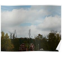 Clouds parting over War Eagle Mill an River Poster