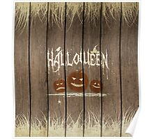 Wooden Halloween Background Poster