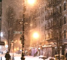 Lower East Side - Winter Night - New York City Sticker