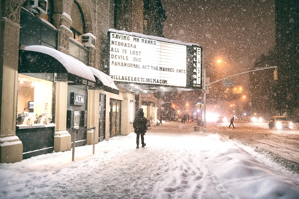 New York City - A Snowy Night on 2nd Avenue by Vivienne Gucwa