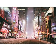 Snow on a Winter Night - Times Square - New York City Photographic Print