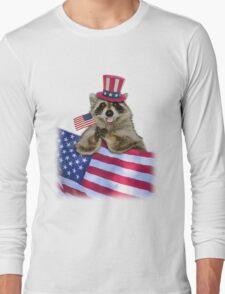 Patriotic Raccoon Long Sleeve T-Shirt
