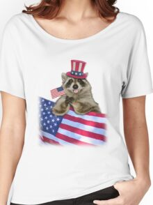 Patriotic Raccoon Women's Relaxed Fit T-Shirt