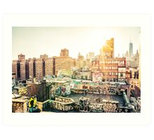 Graffiti Rooftops at Sunset - Chinatown - New York City Art Print